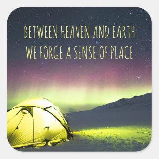 Tent Camper Under Aurora Borealis At Night Square Sticker