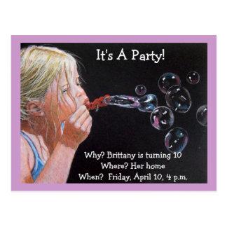 TENTH BIRTHDAY INVITATION BUBBLES POSTCARD