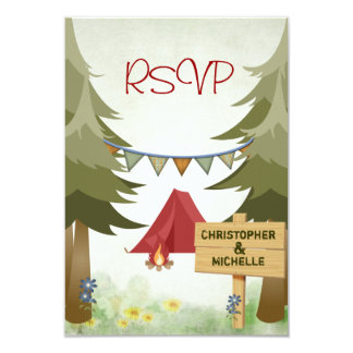 Tents and Campfire Woodland Camping Wedding RSVP Card