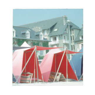 Tents on beach in Brittany, France Notepad