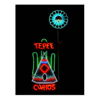 Tepee Curios Neon Sign, Tucumcari, New Mexico Postcard