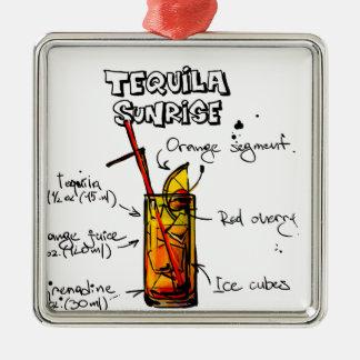 Tequila Sunrise Cocktail Recipe Silver-Colored Square Decoration