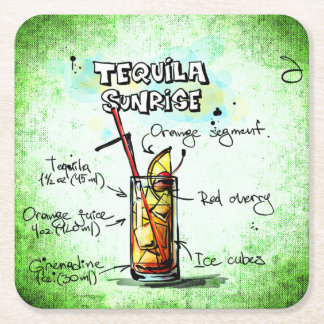 Tequila Sunrise Drink Recipe Square Paper Coaster