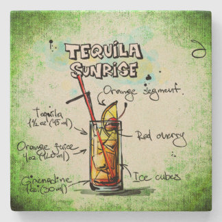 Tequila Sunrise Drink Recipe Stone Coaster