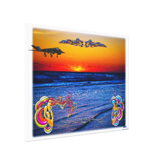 Tequila Sunrise Over Atlantic Big Beach Big Fun Stretched Canvas Prints