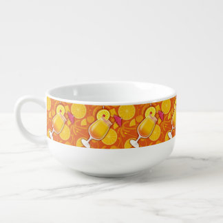 Tequila sunrise soup bowl with handle