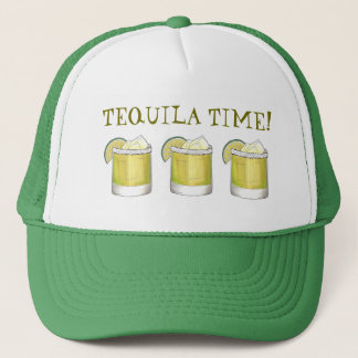 Tequila Time Margarita Cocktail Mixed Drink Lime Trucker Hat