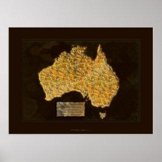 TERRA AUSTRALIS Map Art Poster