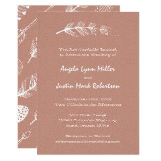 Terra Cotta Boho Feather and Arrows Wedding Card
