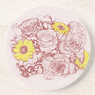 Terra  Cotta Edged Bouquet Beverage Coaster