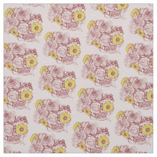 Terra  Cotta Edged Bouquet Fabric