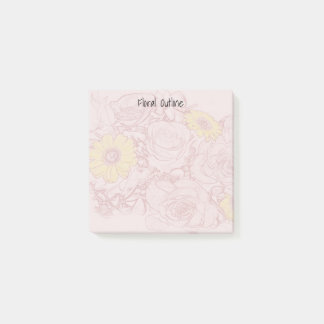 Terra  Cotta Outlined Bouquet Artwork Background Post-it Notes