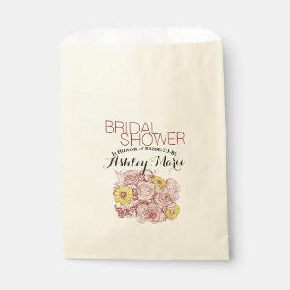 Terra  Cotta Outlined Bouquet Artwork Favour Bag