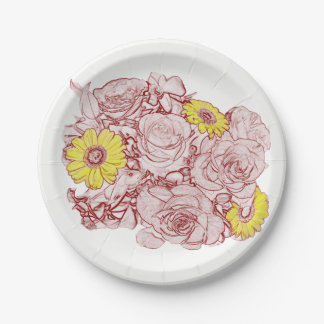 Terra  Cotta Outlined Bouquet Paper Plate