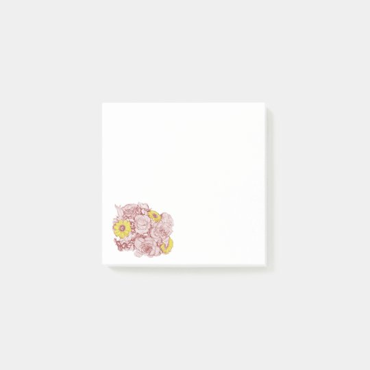 Terra  Cotta Outlined Bouquet Post-it Notes