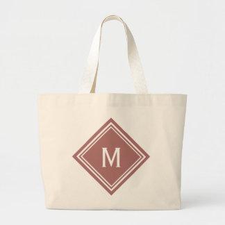 Terra Cotta Red Diamond Monogram Large Tote Bag