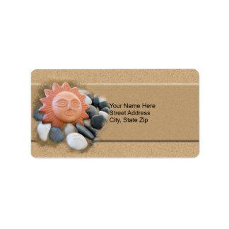 Terra Cotta Sun On Sand And Rocks Address Label