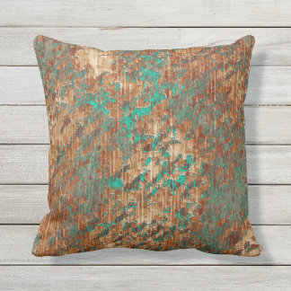 Terra Cotta Turquoise Grunge Plaster Effect Outdoor Cushion