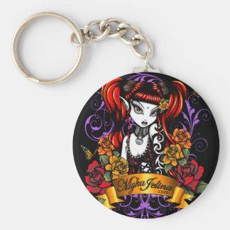 Terra Rose Tattooed Gothic Fae Fantasy Keychain