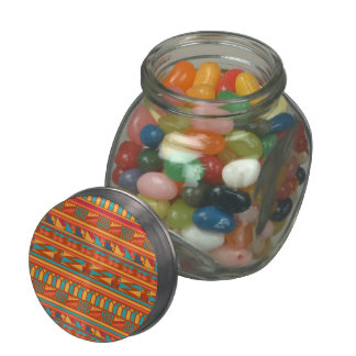 Terracotta Abstract Aztec Tribal Print Pattern Jelly Belly Candy Jar