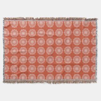 Terracotta Mandala Throw Blanket