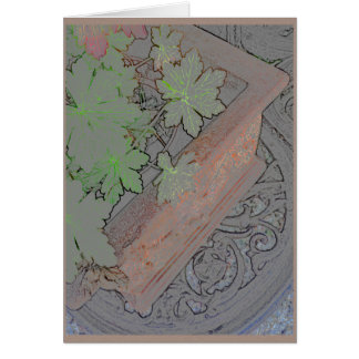 Terracotta planter on wrought iron table card