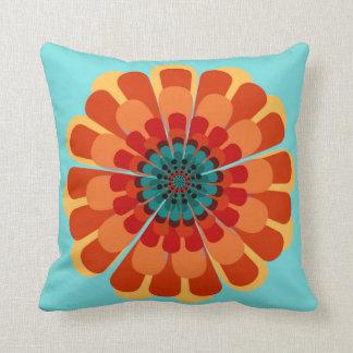 Terracotta & Teal Flower Cushion
