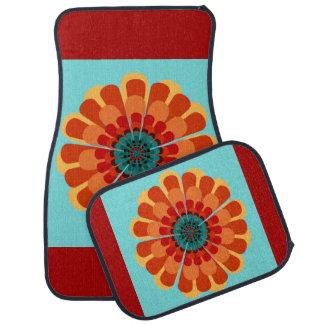 Terracotta & Teal Flower Floor Mat