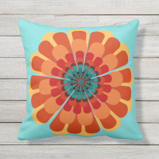 Terracotta & Teal Flower Outdoor Cushion