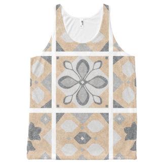 Terracotta Vintage Tiles Design All-Over Print Singlet