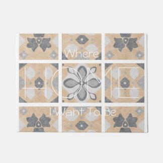 Terracotta Vintage Tiles Design Doormat