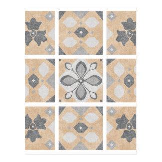 Terracotta Vintage Tiles Design Postcard