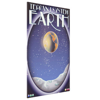 Terran 1 System Earth sci-fi travel poster Canvas Print