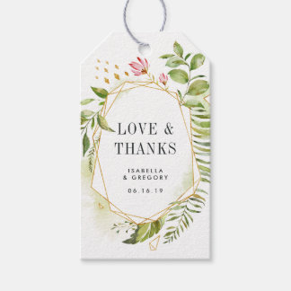 Terrarium Geometric Watercolor Wedding Favor Gift Tags