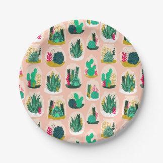 Terrarium Succulent Plant Cactus / Andrea Lauren 7 Inch Paper Plate