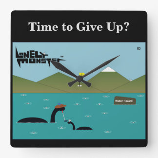 Terrible Golfer Lonely Monster Square Wall Clock