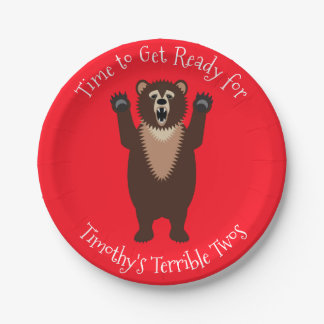 Terrible Twos Little Boy's Funny Birthday 7 Inch Paper Plate