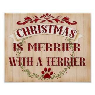 Terrier Christmas Wreath. dog breeds personalized Poster