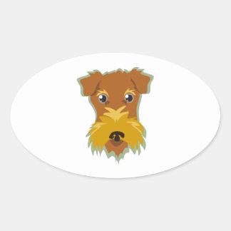 Terrier Head Oval Stickers