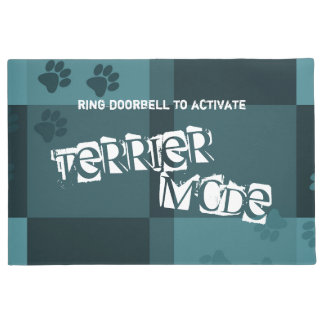 Terrier Mode Funny Dog Pawprints Dark Teal Gray Doormat