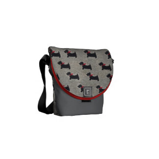 Terrier pattern small flapped bag commuter bag