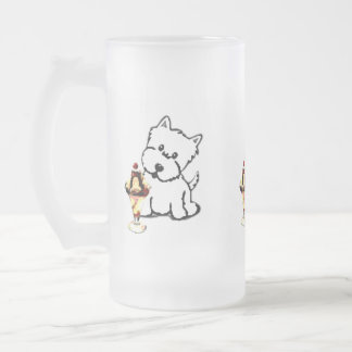 Terriers and Cream Frosted Glass Beer Mug