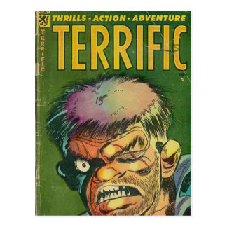 Terrific horror comic book postcard