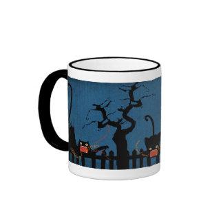 Terrified Black Cat on Halloween Night Coffee Mug