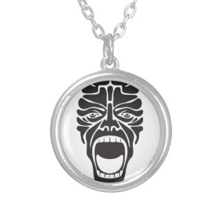 terrifying scream silver plated necklace