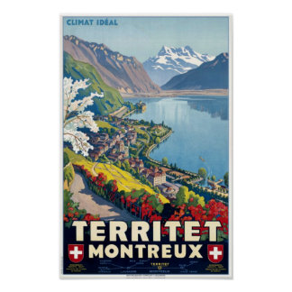 Territet, Montreux, Switzerland Vintage Travel Poster