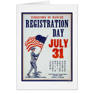 Territory of Hawaii Registration Day - Chinese Greeting Cards