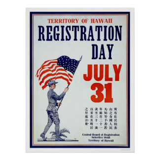 Territory of Hawaii Registration Day - Chinese Poster