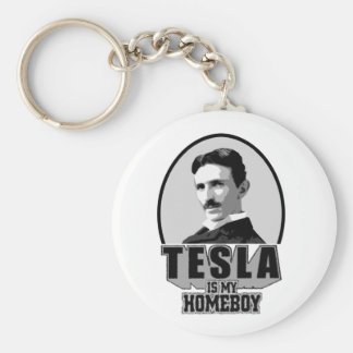 Tesla Is My Homeboy Basic Round Button Key Ring