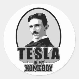 Tesla Is My Homeboy Round Sticker